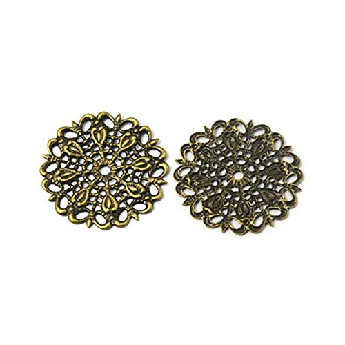 ARRICRAFT 100pcs Brass Vintage Antique Bronze Flat Round Filigree Findings for Crafts, 25mm in Diameter