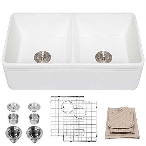 Lordear 33 Inch Farmhouse Kitchen Sink Apron-Front White Fireclay Double Bowl Kitchen Sink