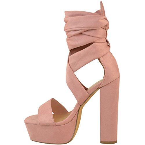 Heelberry® Assoiffés Femmes Sandales Haut Cravate Rose Des Soirée formes Plates Dames Chaussures Mode Chaussent De Blocs Suède Faux Talons Cheville Pastel g05WEPx