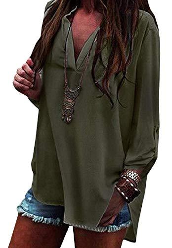 Coat V Women Maniche Green Home color A Lunghe T shirt Xxs Army Scollo White Con Size 0HdHqx8