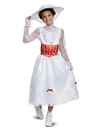 Disguise Mary Poppins Deluxe Child Costume, White, Medium/(7-8) ()