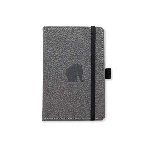 Dingbats Wildlife Dotted Pocket A6 Hardcover Notebook - PU Leather, Perforated 100gsm Ink-Proof Paper, Pocket, Elastic Closure, Pen Holder, Bookmark (Gray Elephant)
