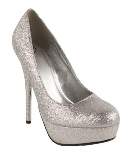 Lustacious Women's Platform Stiletto High Heel Slip On Dress Pumps, silver glitter, 7.5 M