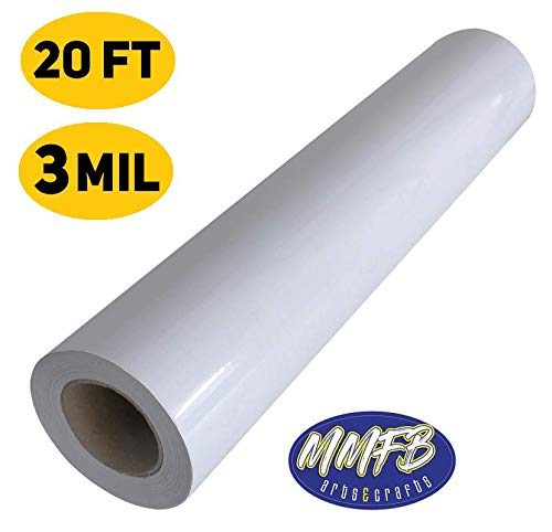 """(3 Mil Cold Laminate Roll Cover Contact Paper Print Shop Single Sided (20 FEET) Self Adhesive Books Photos Transparent - Machine OR Peel n' Stick Shelf Liner - Sizes 17.6'' x 240"""" - Clear Glossy)"""