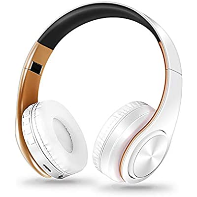Mackur HIFI stereo earphones bluetooth headphone music headset and support card with mic for mobile IOS tablet  Color White Gold