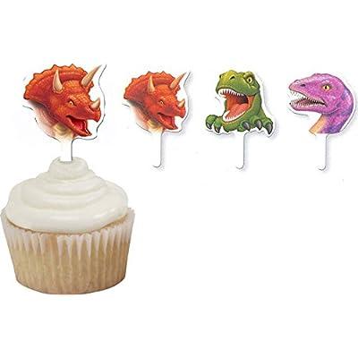 12 Décorations gâteaux Anniversaire Dinosaures - taille - Taille Unique - 228550