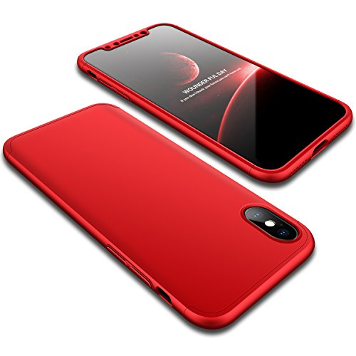 iPhone X Case, Wellerly Ultra Slim Thin 360 Degree Full Body Protection Hard PC Premium Case Hybrid Anti Fingerprint Scratches Soft Grip Cover for iPhone X 5.8inch (2017) - Red