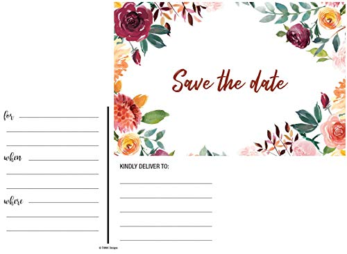 50 Rustic Watercolor Floral Rose Save The Date Cards for Weddings. Before Invitations for Wedding, Anniversary, Bridal Shower, Birthday or Engagement Party use Postcards Announcements Event Invites -