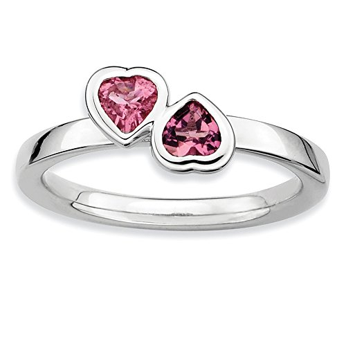 Sterling Silver Stackable Double Heart Pink Tourmaline Ring, Size 10