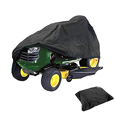"""HOMEYA Lawn Mower Cover, DiDaDi Waterproof Riding Mower Cover Heavy Duty Mildew Resistant UV Protection Tractor Covers with Drawstring Universal Fits Decks up to 54"""" & Storage Bag - Black"""