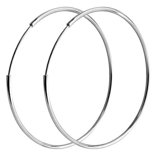 AmpleLove 925 Sterling Silver Hoop Earrings - Simple Polished Large Round Earrings for Women