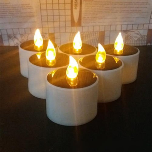 ss 1 PC Solar Powered Led Candle Flameless Warm White Tealight Wedding Decoration