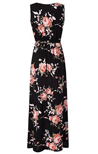 be1c34209132 Zattcas Womens V Neck Sleeveless Empire Waist Floral Maxi Dress …