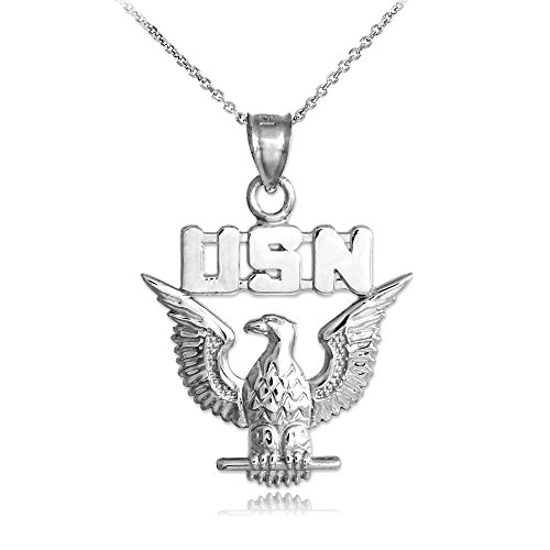 US Navy Eagle Solid 10k White Gold Pendant Necklace, 22