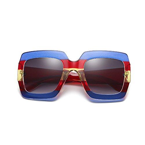 Océano Europa y Green Marco BLUE RED Sol Gafas Cuadrado Mujeres Tendencia Color Gafas América Estampado Transparente Moda de qnAU7
