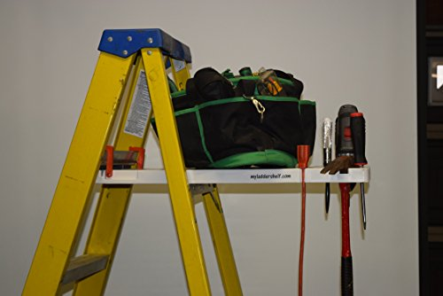 Ladder Shelf Systems -Heavy Duty -Multifunctional -Time saving - Professional Grade molded plastic pail shelf - attaches to most Warner, Louisville, and Keller brand single sided A-frame step ladders by Ladder Shelf Systems (Image #1)