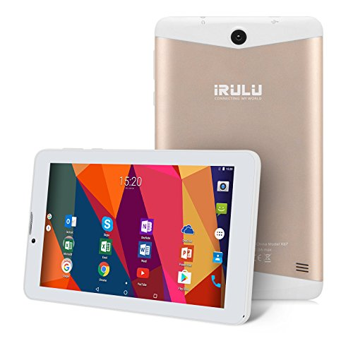 iRULU 7 inch Tablet Quad-Core 1,3 GHz Android 7,0 Nougat Smartphones Phablets, 1GB/16GB IPS 1024x600 Display WiFi FM GPS Bluetooth Dual Kamera, Telefongespräch WCDMA GMS Certified (Gold)