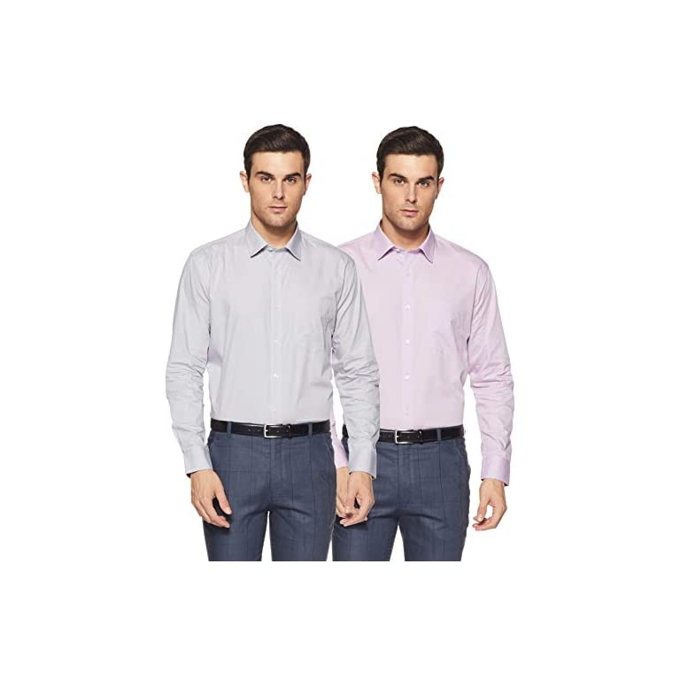 41m%2BBDpBqaL. SS768  - Amazon Brand - Symbol Men's Solid Regular Fit Full Sleeve Cotton Formal Shirt (Combo Pack of 2)