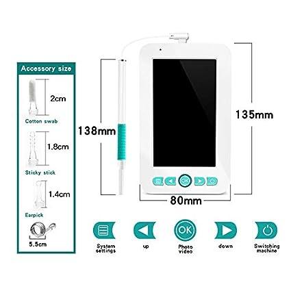 LittleMokey C/ámara WiFi 5.5mm endoscopio de Limpieza de o/ído USB con Pantalla inspecci/ón de boroscopio HD 1080P Herramienta para Quitar Cera de o/ído