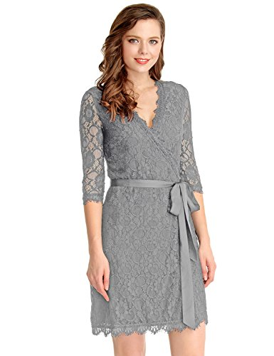 GRAPENT Women's Lace 3/43 Sleeves Midi Business Cocktail Short Formal Wrap Dress
