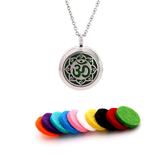 MISS RIGHT Essential Oil Diffuser Aromatherapy Om Locket Pendant Necklace with 10pcs Replacement Pads Jewelry for Women Girls Men (OM -