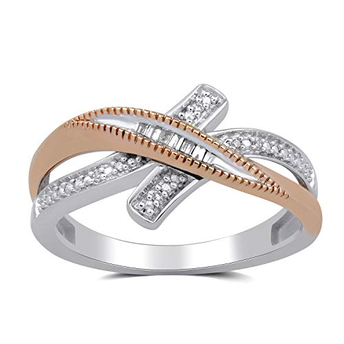 Jewelili 10kt Rose Gold and Sterling Silver Two Tone Baguette and Round Diamond Accent Crossover Bypass Ring, Size 6