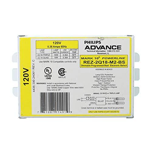 (Advance REZ-2Q18-M2-BS Fluorescent Dimming Ballast, 2-Lamp, CFL Triple, Quad Mark-10, 18W, 120V )