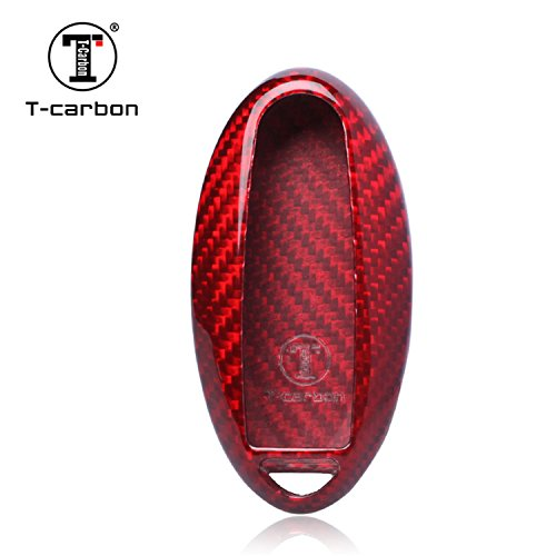 Carbon Fiber Key Fob Cover For Nissan Key Fob Remote Key, Fits Nissan 3 / 4 / 5 Buttons Smart Keyless Start Stop Engine Car Key, Light Weight Glossy Finish Key Fob Protection Case - Red