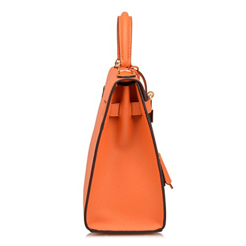 Purse Shoulder Satchel Padlock B Orange Ainifeel Purse Handbags Women's Bag Hobo BAP7nI6