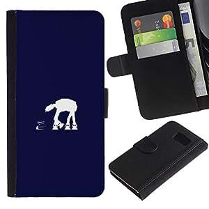 MobileX / Samsung Galaxy S6 SM-G920 / At At Blue / Cuero PU Delgado caso Billetera cubierta Shell Armor Funda Case Cover Wallet Credit Card