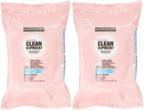 - Maybelline New York Clean Express Makeup Remover Facial Towelettes, 25 Count (Pack of 2)