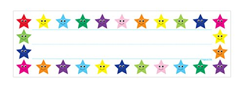 Hygloss Products Multi-Color Stars Kids Name Plates for Desks Cubbies Lockers - 9.5 x 2-7/8 Inch, 36 Pack