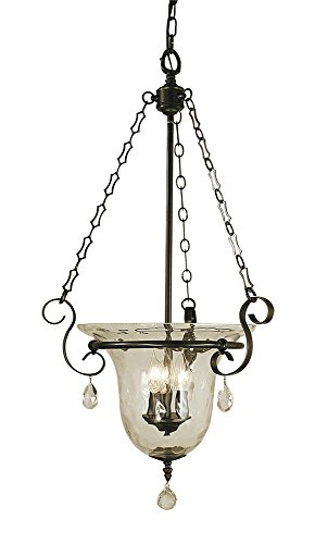 Framburg 2919 MB Carcassonne 3-Light Pendant with Clear Water Glass and Clear Crystal Accents, 18