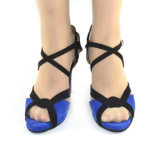 Blue7cm Heels Dark Women's Shoes Banquet Dancing QXH Sandals High Leather Dance Latin HzvqdPw