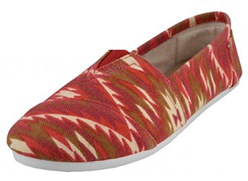 EasySteps Slip-On Damenschuhe mit gepolsterter Einlegesohle Ikat Rot