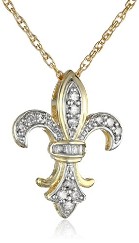 Fleur De Lis Gold Necklace (10k Yellow Gold Washed Sterling Silver Diamond Fleur-de-Lis Pendant Necklace (1/4 Cttw, J Color, I3 Clarity), 18