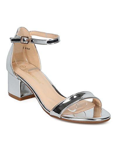 Women Ankle Strap Sandal - Low Block Heel Sandal - Dressy Casual Everyday Formal Office Chunky Heel - Irene By Heart.thentic Collection - Silver Metallic (Size: 7.5)