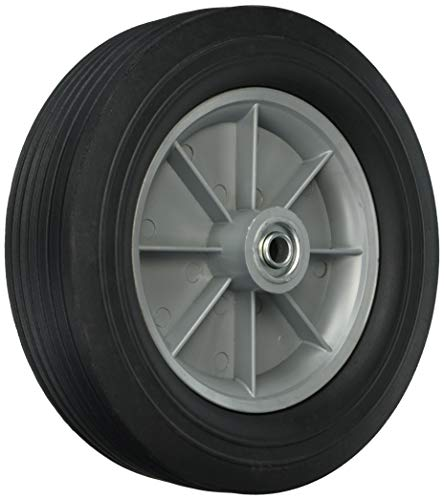 Shepherd Hardware 9654 12-Inch Hand Truck Replacement Wheel, Solid Rubber, 2-5/8-Inch Ribbed Tread, 5/8-Inch Bore Centered Axle