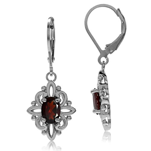 (1.8ct Natural Garnet White Gold Plated 925 Sterling Silver Victorian Style Flower Leverback Earrings)