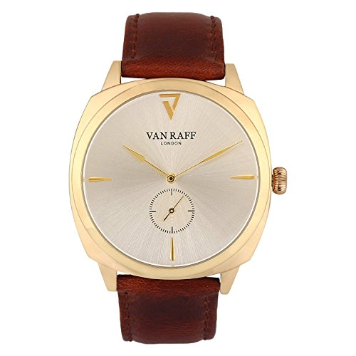 Van Raff Brown Genuine Leather Strap Golden dial Analog Watch for men-VF1971-100% Authentic. Imported