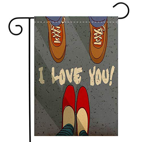 Custom Double Sided Seasonal Garden Flag I Love You Man Woman Feet Couples Togetherness Love Life Romance Flirt Happiness Graphic Decorative Welcome House Flag for Patio Lawn Outdoor Home Decor
