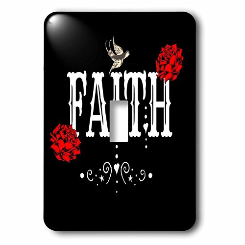 3dRose RinaPiro Sugar Skull - Faith. Red Magnolia flowers. Bird. Black background. - Light Switch Covers - single toggle switch (lsp_282861_1) by 3dRose