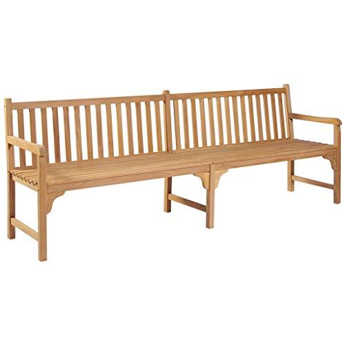 (Festnight Outdoor Patio Garden Bench Wooden Porch Chair Seat with Backrest and Armrest Solid Teak Frame Backyard Park Outdoor Furniture 94.5