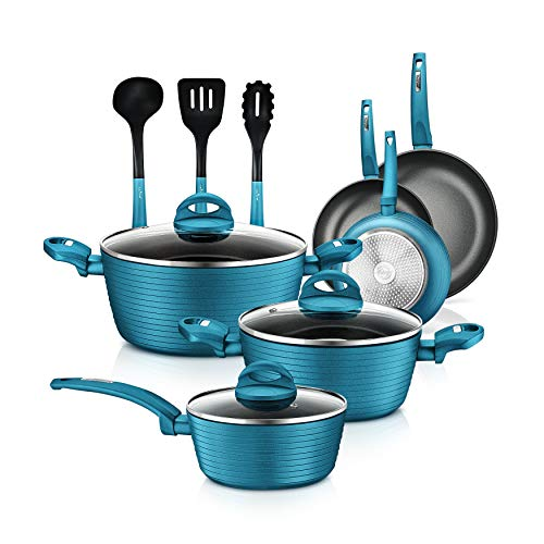 12-Piece Nonstick Kitchen Cookware Set – PTFE/PFOA/PFOS-Free Heat Resistant Lacquer Kitchen Ware Pots Pan Set Light Gray…
