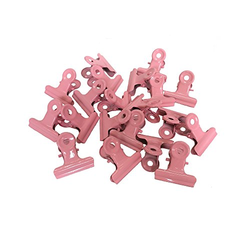 Metal Bulldog Clips, 1.25 Inches, Pack of 20 (Pink)