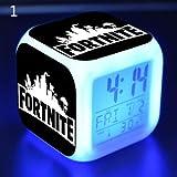 FairySu Fortnite Game Figures - Reloj Despertador con luz Nocturna Que Cambia de Color para niños, Juguete de Regalo 7, 1