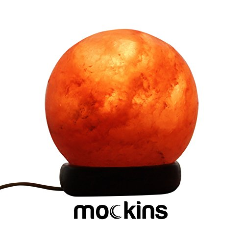 (Mockins Natural Himalayan Salt Sphere Lamp The Salt Crystal Globe Lamp is Hand Carved with a Wooden Base - Best)
