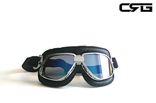 CRG Sports Vintage Aviator Pilot Style Motorcycle Cruiser Scooter Goggle T11 T11SRB Multi-color lens, silver color frame, black padding (Style Scooter Motor)