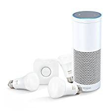 Amazon Echo-White + Philips Hue White and Color Ambiance A19 Starter Kit