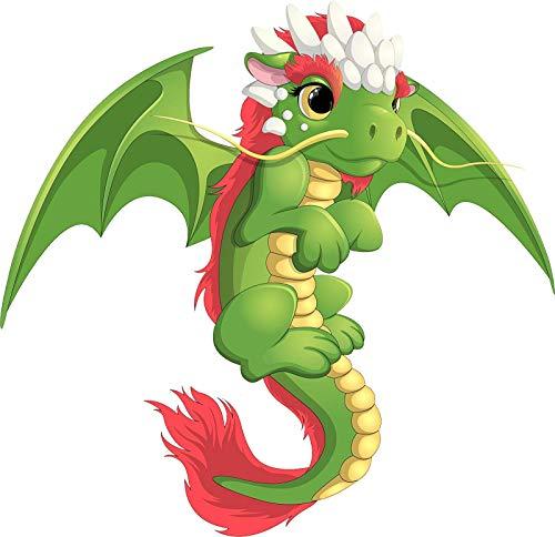 EW Designs Cute Adorable Girly Green Baby Flying Dragon Cartoon Vinyl Decal Bumper Sticker (4